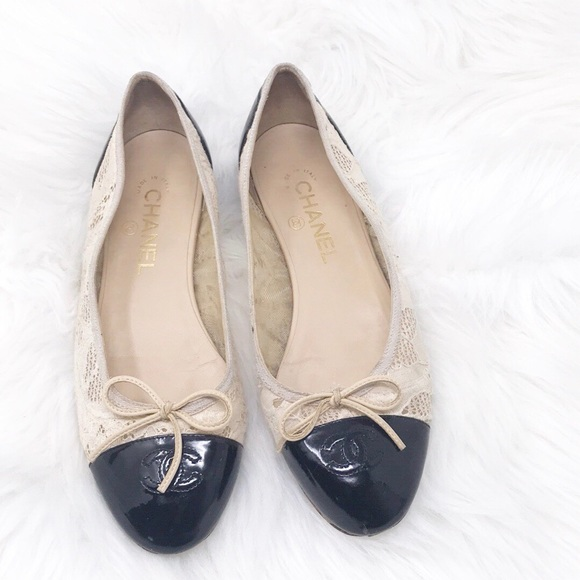 0c95ae8f3 CHANEL Shoes | Classic Lace Ballet Flats Cream Black 9 | Poshmark
